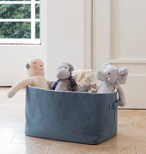 Environmentally Friendly Fabric (Cotton Denim Storage Basket | Rectangular - Blue | Handcrafted Baskets, Upcycled Environmentally Friendly Fabric | For Toys, Laundry, Books | 15x10x9.5 in)