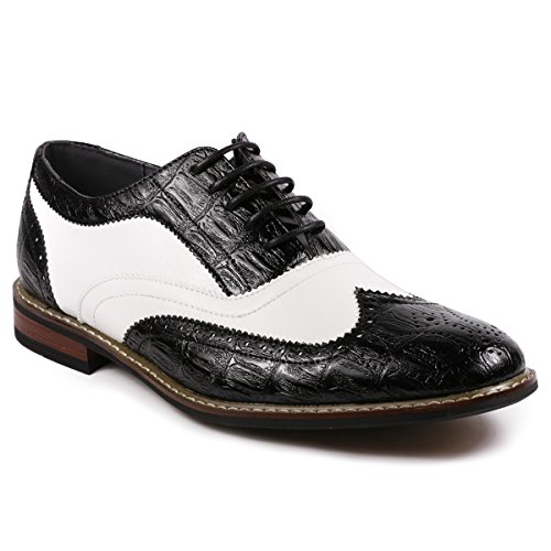 Metrocharm Frank-03 Men's Two Tone Wing Tip Perforated Lace Up Oxford Dress Shoes (7.5, Black/White) (Mens Wingtip Shoes Toned Two)