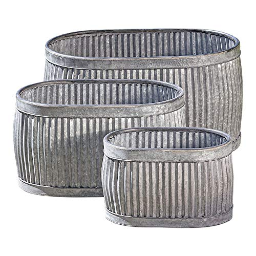 WHW Whole House Worlds French Country Style Oval Belly Planters, Set of 3, Galvanized Metal, Chubby Belly, Corrugated Cache Pots, Rustic Wash Basin, from Over 2 Ft Long (24 1/2, 20 and 14 1/2 Inches) (Feed Trough Garden)