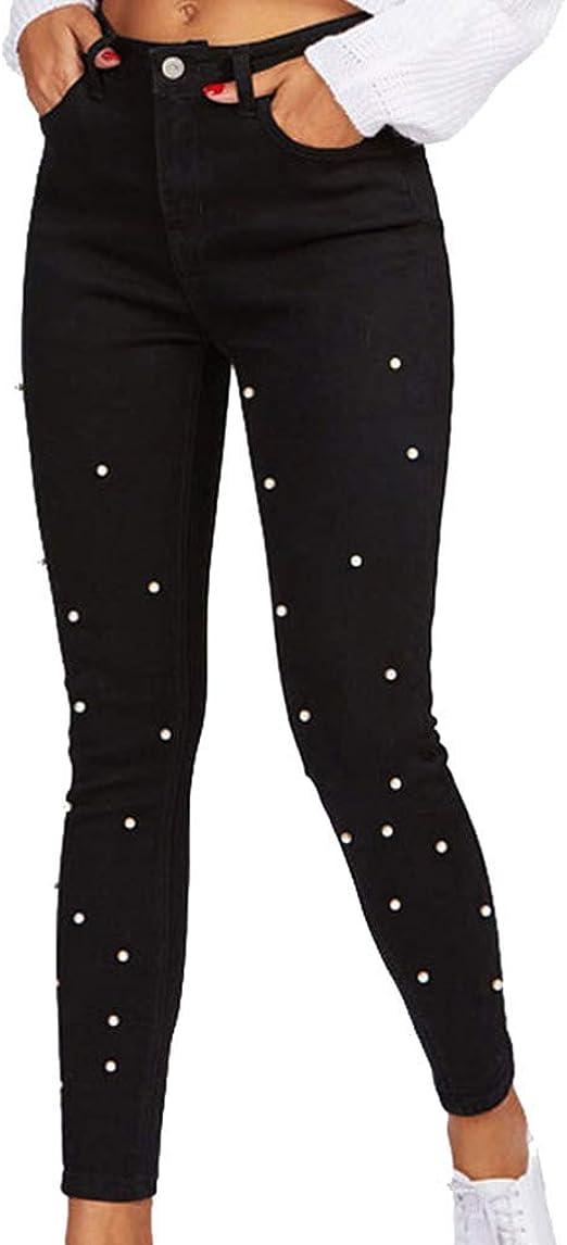 HX fashion 女性のジーンズストレッチスリム無地鉛筆パンツファッションパールスプライシングハイウエストスキニージーンズズボンロングパンツブラックカジュアルズボンジッパーとポケット付き