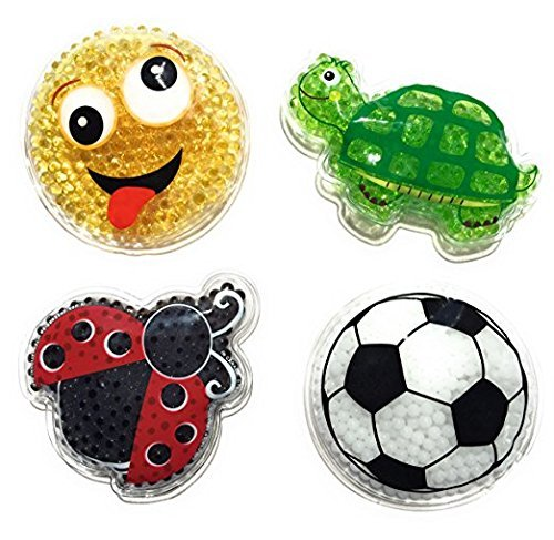 (Kids' Reusable Cute Animal Cartoon Shaped Cold Packs (Pack of 4): Baby Turtle, Little LadyBug, White Soccer Ball, and Yellow Smiley Face By Assured (Kids)
