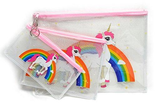 Rising Phoenix Industries Transparent Clear Mesh Rainbow Unicorn Travel Pouch, Vinyl Zip Cosmetic 3 Pack (Pink) by Rising Phoenix Industries