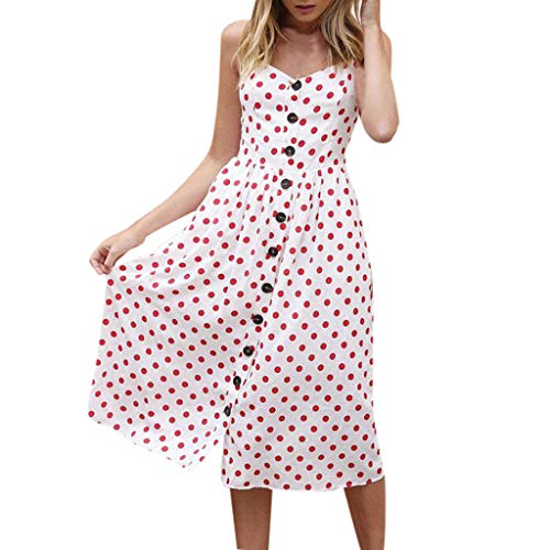 general3 Women Dress V Neck Sexy Dot Print Strappy Button Up Single Breast Flare Dress with Pockets Summer (S, Red)