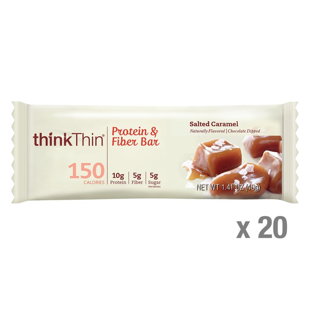 thinkThin Protein & Fiber Bars, Salted Caramel, 1.41 Ounce (20 Count) by thinkThin (Image #1)