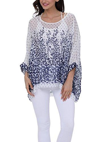 iNewbetter Womens Summer Chiffon Floral Print Batwing Sleeve Tunic Shirt Blouse Beachwear Tunic Tops 287 One Size