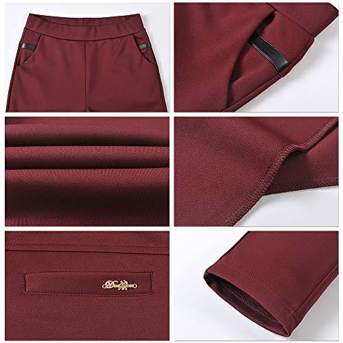 Per Lunghi Rosso in Elastico Lavoro Ufficio da Wear Inverno Donna Pantaloni di Quotidiano Vino Vita Casual Pantaloni ZEVONDA Autunno 0xwUqnP
