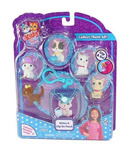 Bitty Kitty (Kitty In My Pocket Kitties & Blue Clip On Pouch - 5 Kitties Included)