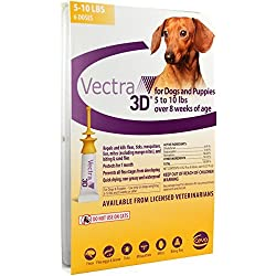 Vectra 3D Gold for Extra Small Dogs 5 - 10 Pounds (6 Doses)