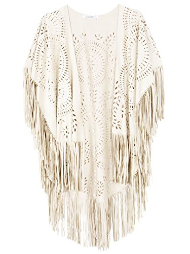 CHOiES record your inspired fashion Women's Suedette Cut Out Asymmetric Fringed Cape Kimono Blouse with Tassel ()