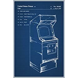 Retro Arcade Video Game Cabinet Official Patent Blueprint Poster 12x18