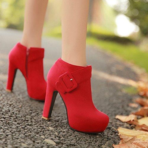 Aisun Plateau Stiefel Schnalle mit Reißverschluss Riemchen Rot Kurzschaft Damen Trichterabsatz rwgqrC