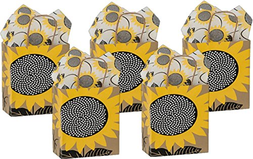 5 Medium Gift Bags Nashville Wraps with Coordinating Tissue Paper (Sunflower Fields) -