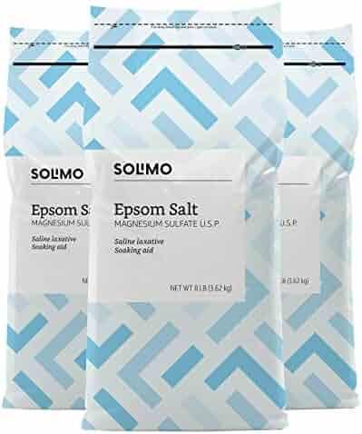 Amazon Brand - Solimo Epsom Salt Soak, Magnesium Sulfate USP, 8 Pound (Pack of 3)