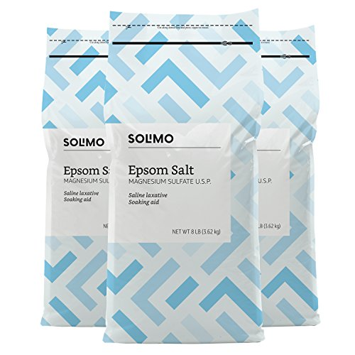 Amazon Brand - Solimo Epsom Salt Soak, Magnesium Sulfate USP, 8 Pound (Pack of 3)