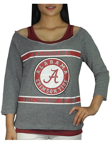 2 PCS SET NCAA ALABAMA CRIMSON TIDE Womens Tank Top & Shirt with Rhinestones - 51wArIks1gL - 2 PCS SET NCAA ALABAMA CRIMSON TIDE Womens Tank Top & Shirt with Rhinestones