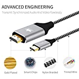 USB C to HDMI, KINGONE Braided 4K@60HZ USB Type C to HDMI Cable 6ft (Thunderbolt 3 Compatible) for 2017/2016 Macbook Pro, 2015 New Macbook, 2017 iMac, Galaxy S8/S8+, LG G5, Google Chromebook and More