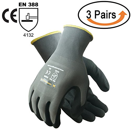(Tarantula Nitrile Coated Safety Work Gloves for General Purposes, Lightweight Work Gloves, 13 Gauge Polyester Shell, Black Sandy Nitrile on Palm and Fingers, 3 Pair Per Pack)