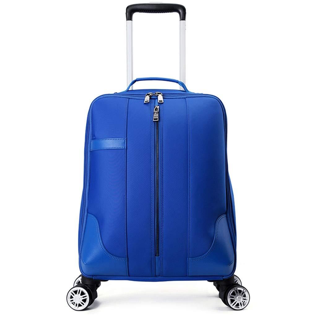 FRF トロリーケース- 学生多機能軽量トロリーケース、男性と女性防水トラベルバッグユニバーサルホイール荷物シンプル (色 : 青, サイズ さいず : 18in) 18in 青 B07QZCN7H7