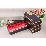 FunRun FunRun 18 Pezzi profumato per il bagno petali rosa, Creativo regalo Fiore del sapone artificiali Rose fiori di sapone per la festa di compleanno San Valentino(Rosa)