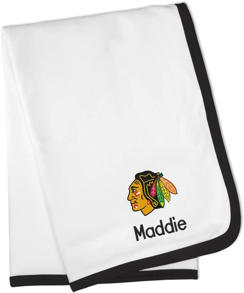 Designs by Chad and Jake Personalized Chicago Blackhawks Baby Blanket (Officially Licensed) Ultra Soft, Warm Comfort   Receiving Swaddle for Newborn Boy or Girl   Portable, Stroller Friendly