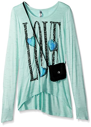 Beautees Big Girls' L/s Hi/Low Top W/Purse-Love Screen, Mint, L by Beautees (Image #1)