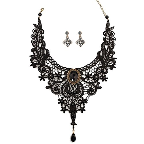 Black Lace Gothic Lolita Pendant Choker Necklace Earrings Set