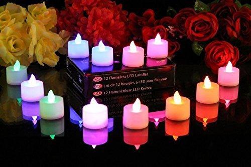Swanky™ Home Decor Led Light Multi Color Dia Deepak Lamp for Diwali Decoration Pooja 12 Diwali Diya LED Colour Changing Tealights