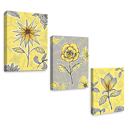 SUMGAR Yellow Wall Art Bedroom 3 Piece Grey Flower Pictures Kitchen Gray Floral Canvas Paintings Living Room Framed Artwork Set Bathroom Decor,12x16 inch (Wall Art Canvas Gray And Yellow)