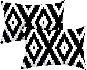 DEARCRAFT Set of 2 Black Stripe Lumbar Throw Pillow Covers 12x20 inch Cozy Flannel Pillow Case for Sofa Livingroom Bedroom Car Farmhouse Soft Home Decor