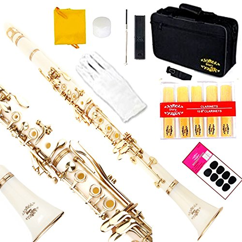 Glory B Flat Clarinet with Second Barrel, 11reeds,8 Pads cushions,case,carekit and more~ white with gold keys by GLORY