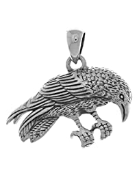 Jewelry Trends Sterling Silver Perching Raven Pendant