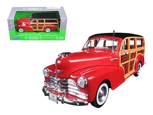 Welly 22083 1948 Chevrolet Woody Wagon Fleetmaster Red 1/24 Diecast Model Car (Car Diecast Model Wagon)