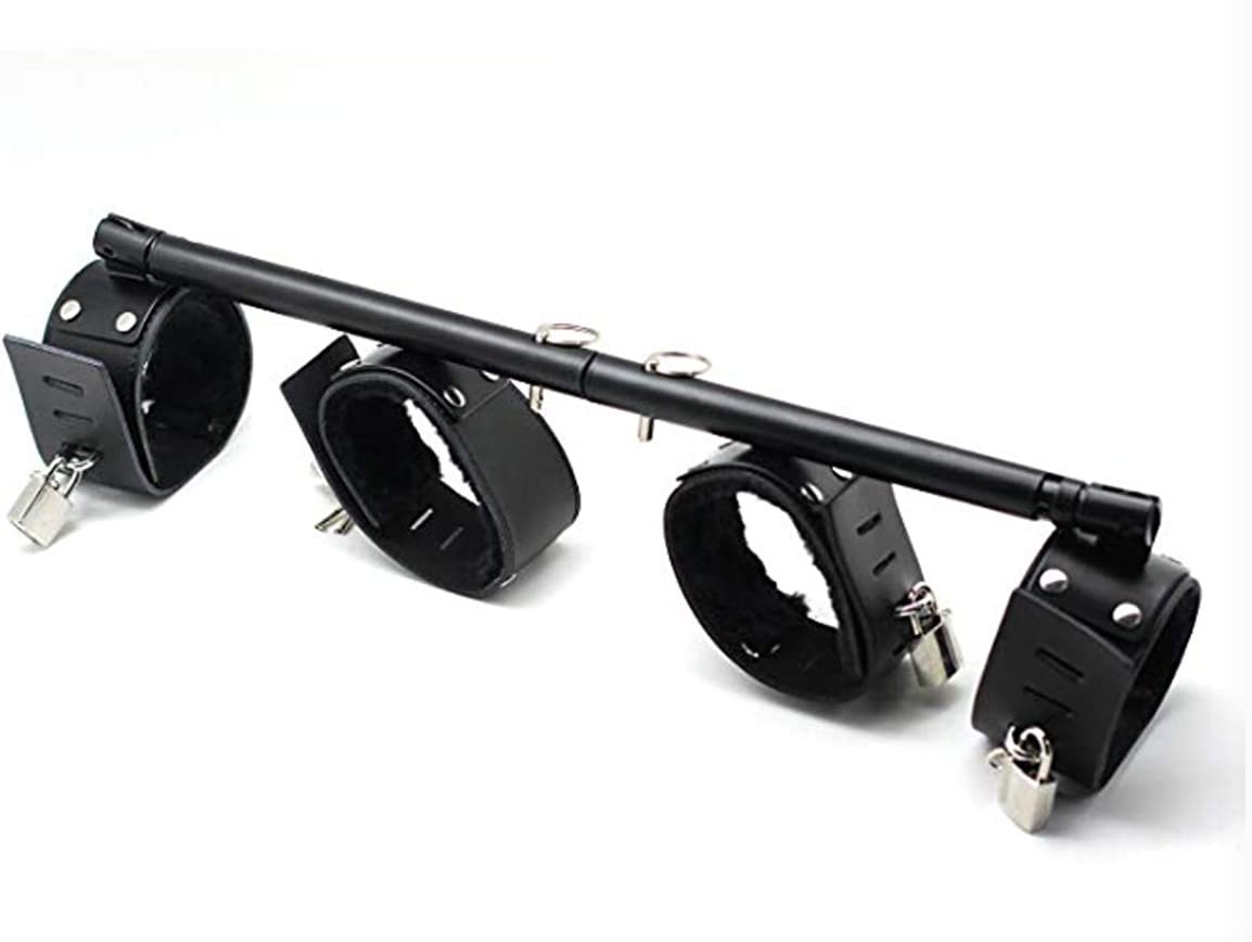 Silver and Black exreizst 2 Spreader Bar with 4 Leather Straps Set Adjustable Bar Training Tools Kit