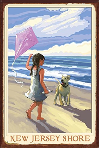 New Jersey Shore Girl Dog Beach Rustic Metal Art Print by Joanne Kollman (24