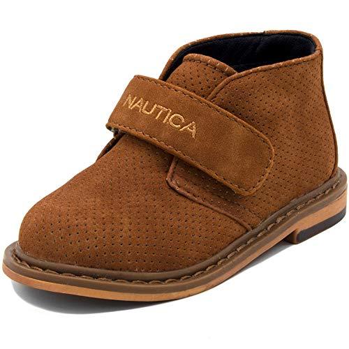 (Nautica Kids Chukka Boot Boys Adjustable Strap Dress Bootie-Puget Toddler-Tan Suede Perf-9)