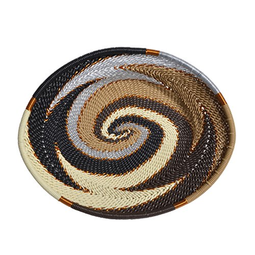 Bridge for Africa Fair Trade Zulu Telephone Wire Small Oval Basket, Mocha