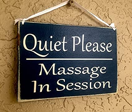 quiet please massage in session 10x8 choose color custom salon spa shhh in progress
