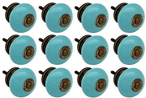 Nicola Spring Ceramic Cupboard Drawer Knobs - Turquoise - Pack Of 12 (Turquoise China Cabinet)
