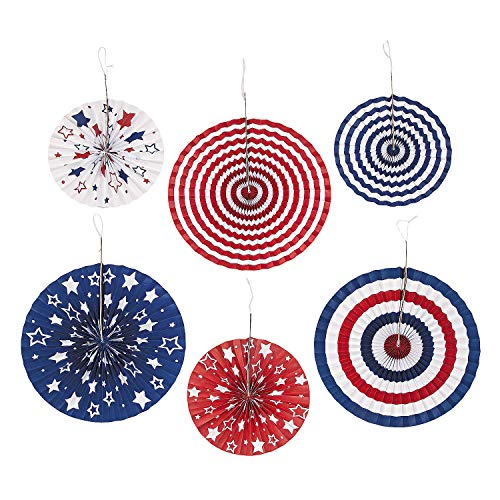 (Fun Express - Patriotic Hanging Fans (6pc) for Fourth of July - Party Decor - Hanging Decor - Misc Hanging Decor - Fourth of July - 6)