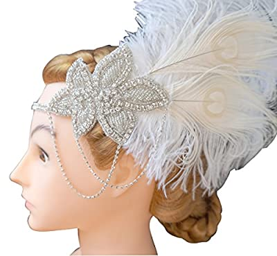 Blank K Rhinetones Feather Headband Annees 20 Flapper Dress 1920s Headband Great Gatsby Headpiece