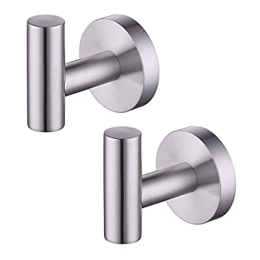 Kes Bathroom Lavatory Wall Mount Single Coat and Robe Hook, Brushed SUS304 Stainless Steel 2 Pack, A2164-2-P2
