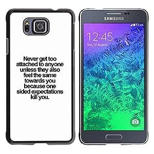YOYOYO Smartphone Protección Defender Duro Negro Funda Imagen Diseño Carcasa Tapa Case Skin Cover Para Samsung GALAXY ALPHA G850 - Nunca motivación inspiradora lección de vida