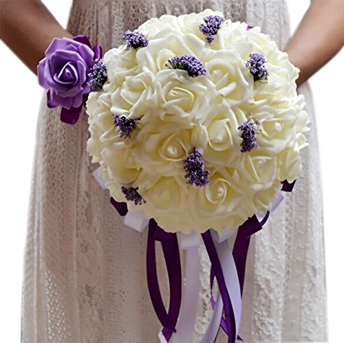 Artificial Flower Foam Roses Bridal Wedding Party Bride Bouquet Rose Red - 8