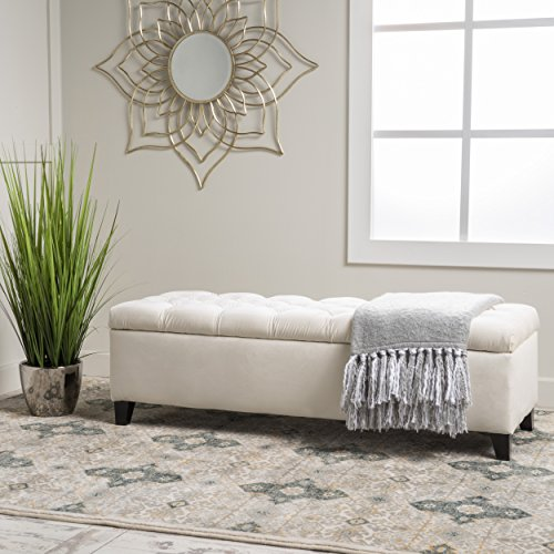 "Christopher Knight Home 299247 Living Charleston Ivory Tufted Velvet Storage Ottoman, 17.50""D x 51.25""W x 17.43""H"