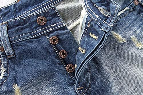 A Alla Strappati Stile Media Jeans Da Moda Casual Dritti Uomo Vita Ragazzi Pantaloni Vintage Classiche Slim Blu CfWqwtW7