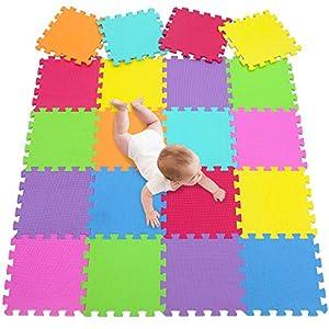 meiqicool 20 Dalles en Mousse de Sol pour Enfant en Couleur imbriqués Tapis d'Activité Puzzle de Tapis 3009G20 2