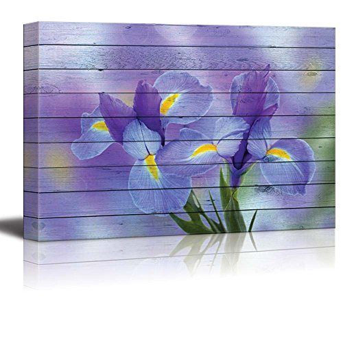 Purple Irise Flowers Over a Blurry Purple Back ground with Wood Panels