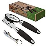 Can Opener Manual Stainless Steel-NO RUST Sharp Blade.Soft Hand Grip-Silicone Handle.Professional Heavy Duty Tin Cans Openers.Smooth Edge,Ideal For ARTHRITIS and SENIORS.EASY TURN+FREE Bottle Opener.