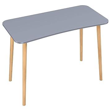 Tavolo Da Studio.Homfa Scrivanie Ufficio Tavolo Pc Tavolino Da Studio Postazioni Di Lavoro Tavolo Da Pranzo In Mdf E Bambu Grigio 75 X 50 X 100 Cm