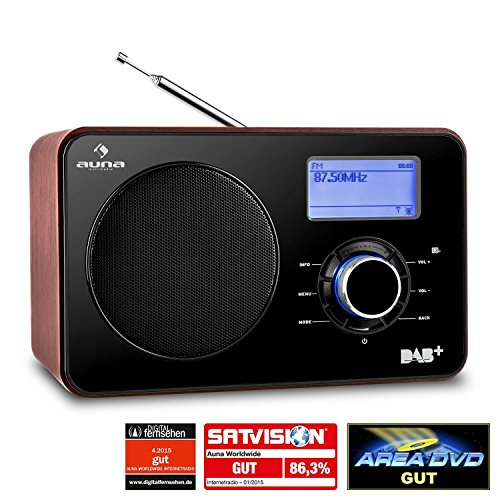Auna Worldwide Design Internetradio Wlan Radio DAB+ Digital Holz Radio mit verspiegelter Front (USB-Slot, AUX-IN, Dual-Radiowecker, Sleep-Timer, Fernbedienung) schwarz-braun